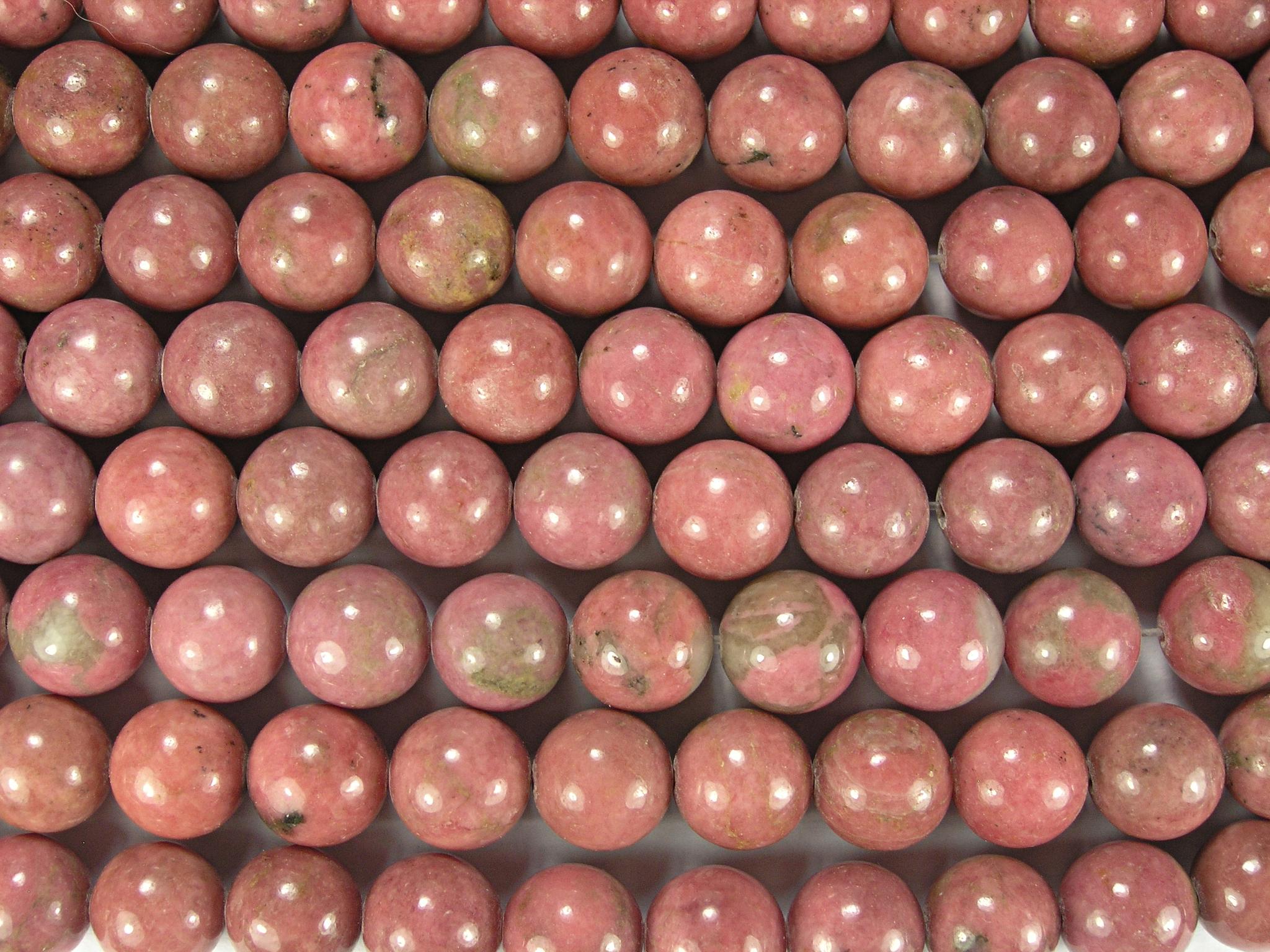 Нити бусин из родонита, шар гладкий 10мм (оптом)
