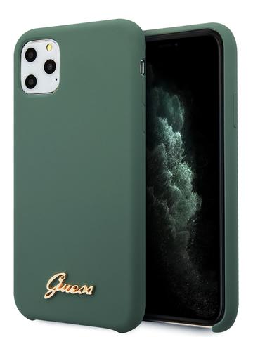 Чехол Guess Gold для iPhone 11 Pro | золотой логотип силикон зеленый микрофибра
