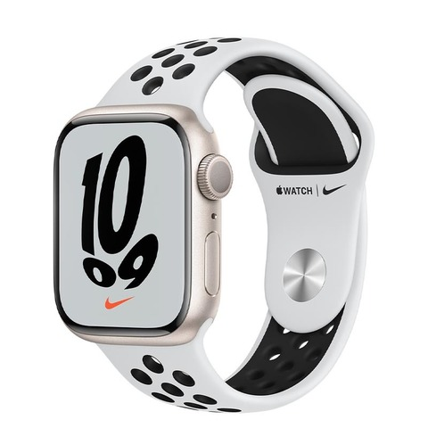 Apple Watch Nike Series 7, GPS, 41 мм, корпус из алюминия цвета «сияющая звезда», спортивный ремешок Nike цвета «чистая платина/чёрный»