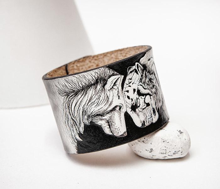BL814 Браслет ручной работы с волком и тигром, тиснение фото 05