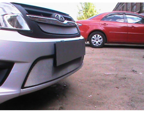 Защита радиатора Lada Granta 2014- лифтбек, седан (2 части) хром Стрелка