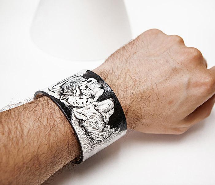 BL814 Браслет ручной работы с волком и тигром, тиснение фото 06