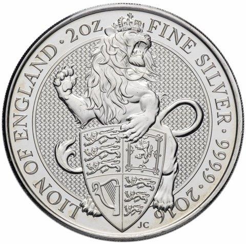 5 фунтов. Звери Королевы — Лев Англии. Великобритания. 2016 год