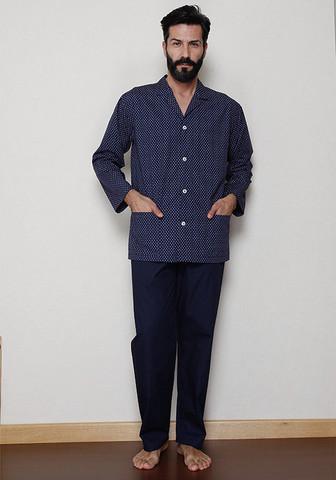 Темно-синяя классическая пижама на пуговицах