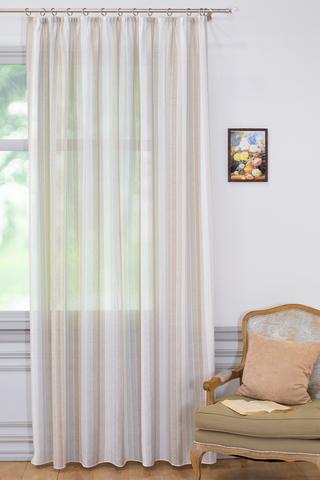 Готовая штора под лён Эстель серо-коричневый