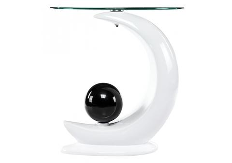 Стеклянный стол кухонный, обеденный, для гостиной Журнальный Savona 50*50*54 Белый пластик /Прозрачный стекло