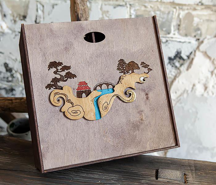 BOX233-3 Большая коробка «Синано» с художественной росписью (25*25*12 см) фото 04