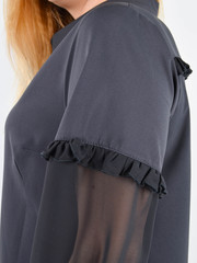 Нурі. Весняна блуза плюс сайз. Чорний.