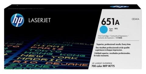 Оригинальный лазерный картридж HP CE341A 651A голубой