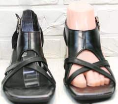 Черные женские босоножки с квадратным носом Evromoda 166606 Black Leather.