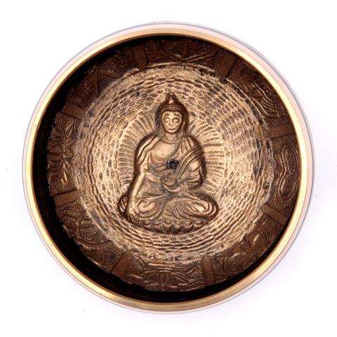 Чаша поющая с барельефом Будда, 7 металлов для лечения и медитации (11,5 см)