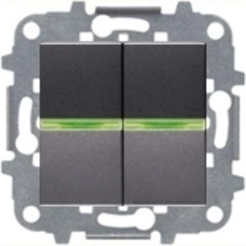 Переключатель промежуточный двухклавишный с подсветкой. Цвет Антрацит. ABB Niessen Zenit. N2110 AN+N2110 AN+N2271.9+N2192 RJ+N2192 RJ
