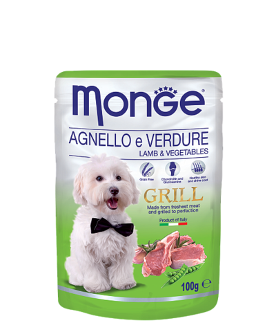 Monge Dog All Breeds Grill Pouch Agnello e Verdure with Lamb&Vegetables