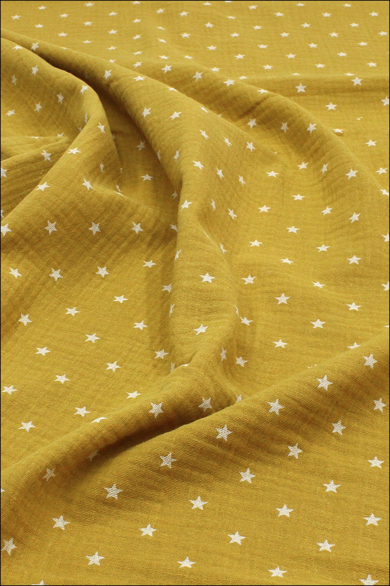 Ткань муслиновая,звездочки на горчице