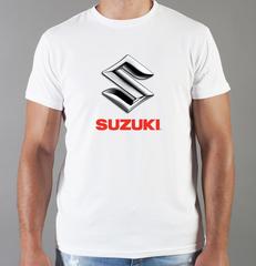 Футболка с принтом Сузуки (Suzuki) белая 002