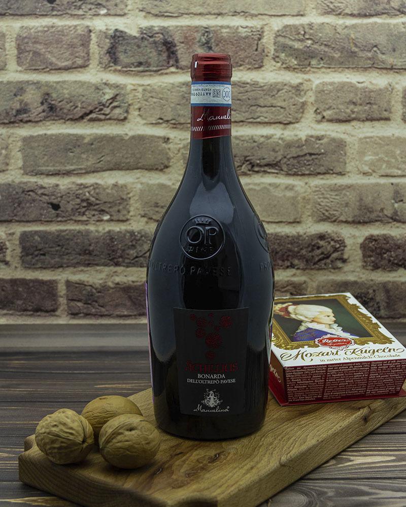 Вино Красное Игристое Manuelina Брют Акиллиус Бонарда 12,5% 0,75 л.