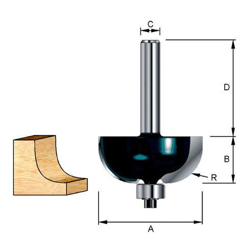 Фреза кромочная галтельная 22,22х32х12,7х8 мм; R=6,35 мм