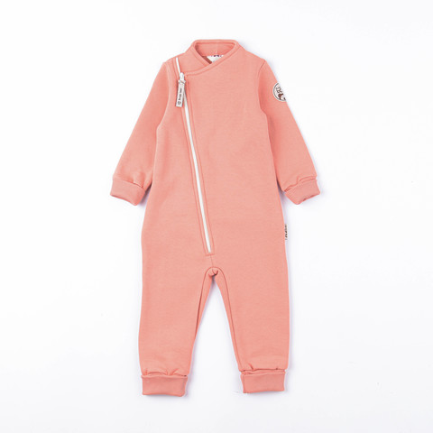 Warm diagonal jumpsuit with flap - Coral