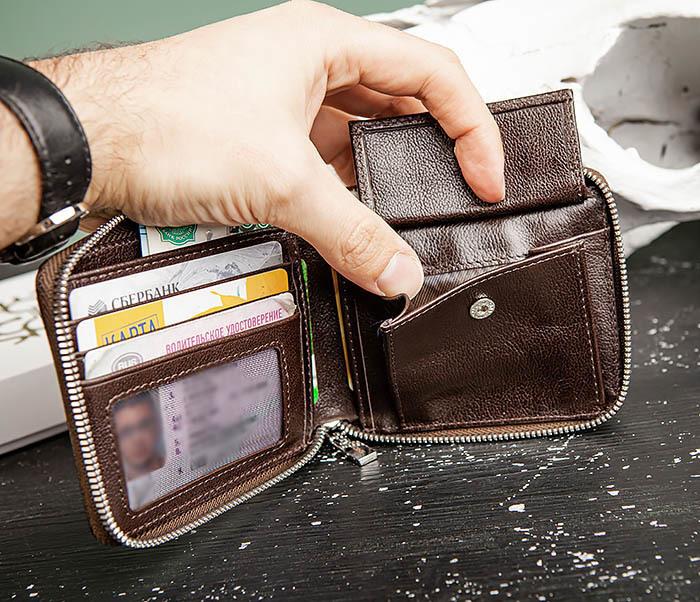 WL324-2 Мужское портмоне из кожи на молнии, «Atos» фото 05