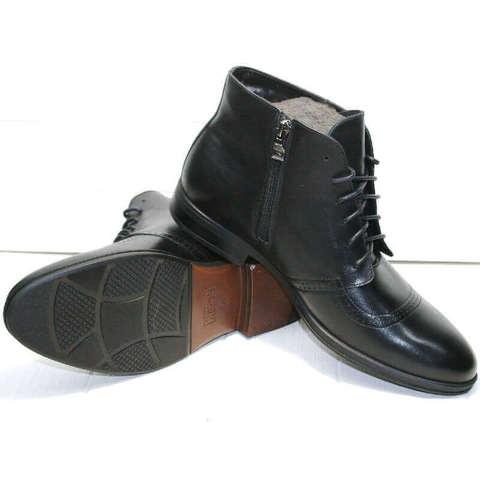 Черные ботинки мужские зимние. Кожаные ботинки с мехом. Классические ботинки дерби Ikoc-BL.