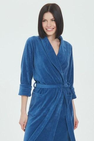 Женский велюровый халат 383 сапфировый