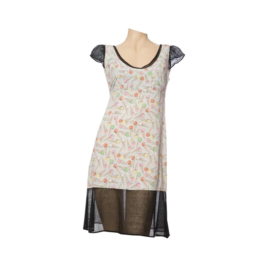 Стильное летнее платье от Chanel с оригинальным принтом в виде рожков мороженого, 42 размер.