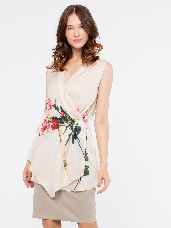 Блуза Г554-128 - Оригинальная блуза с запАхом.  Глубокий, V-образный вырез выгодно подчеркнет линию груди.  В этой блузе вы будете неотразимы на любом праздничном мероприятии.