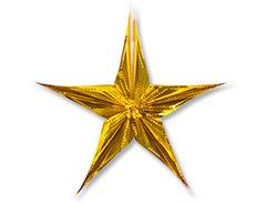 Звезда фольгированная золотая, 30 см, 1 шт.