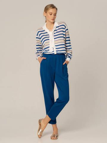 Женские брюки синего цвета из вискозы - фото 4