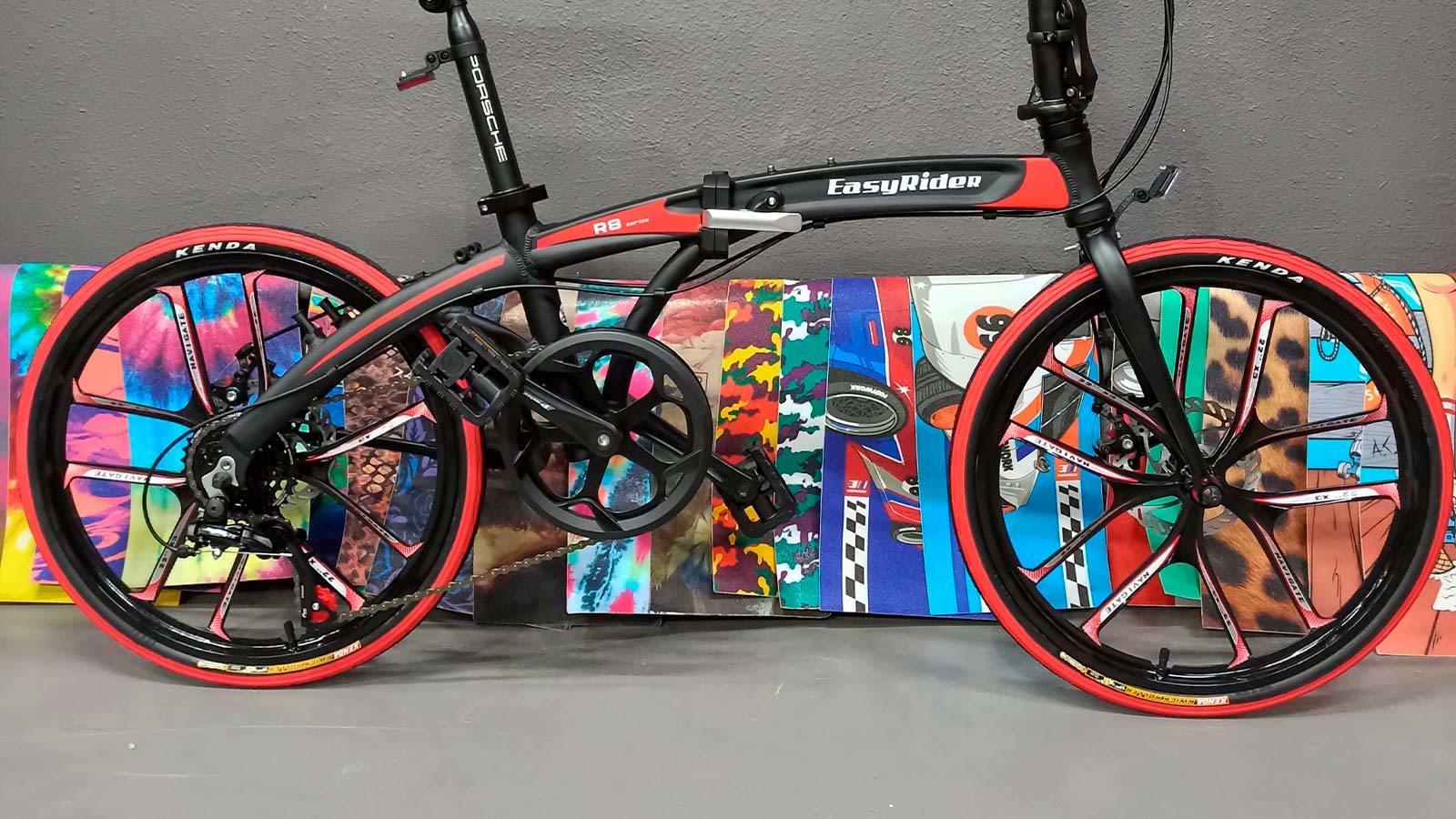 литьё черно-красный велосипед складной