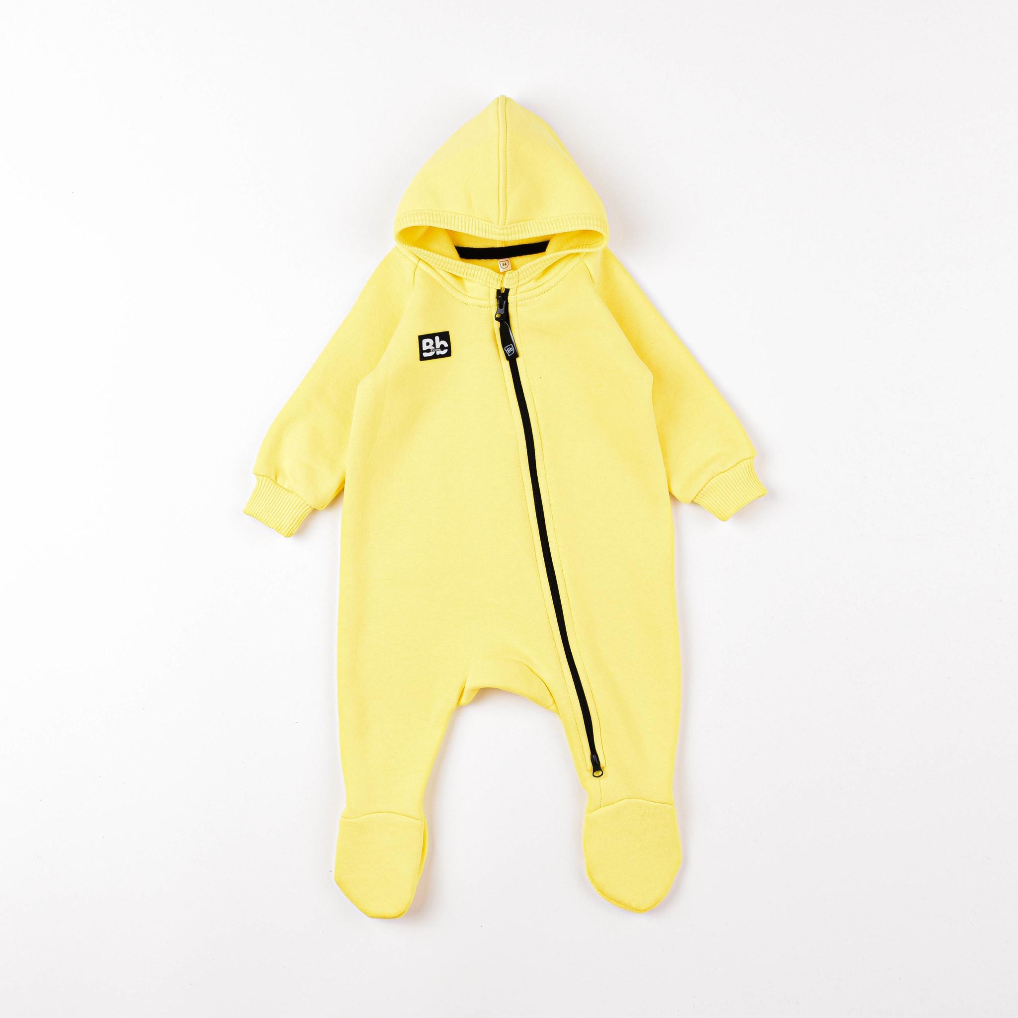 Warm hooded jumpsuit 0+, Lemon