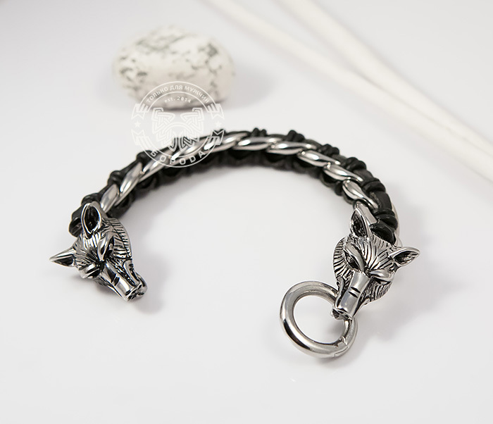 BM379 Мужской браслет с волками из натуральной кожи и стали (20 см) фото 02