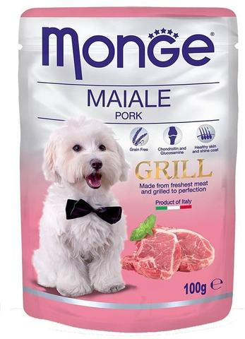 Monge Dog All Breeds Grill Pouch Maiale with Pork