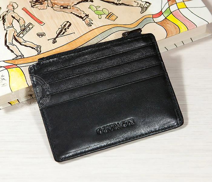 WL259-1 Тонкий мужской кошелек из кожи с отделением на молнии фото 02
