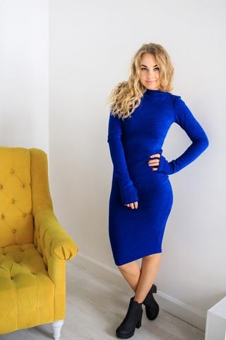 Платье шерстяное с вырезом лодочка синее