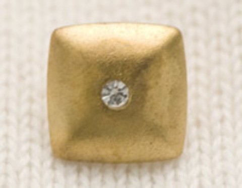 Пуговица квадратная, выпуклая, со стразом в центре, цвет золотой, 15 мм