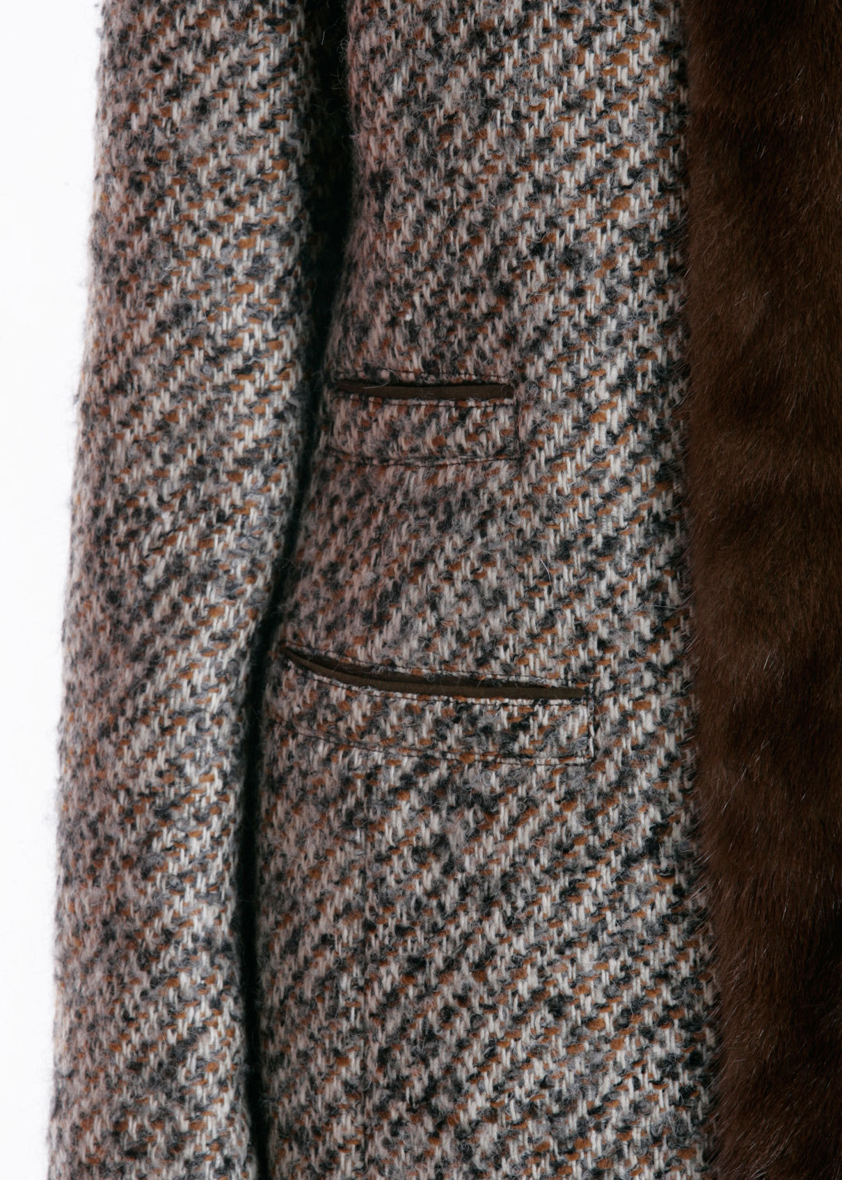 Пальто из шерсти с мехом норки. MABRUN