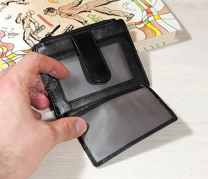 WL259-1 Тонкий мужской кошелек из кожи с отделением на молнии фото 03