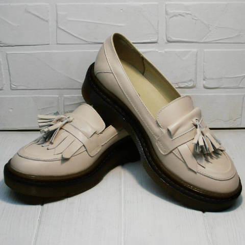 Бежевые туфли лоферы женские Markos S-6 Light Beige.