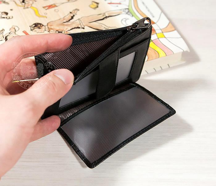 WL259-1 Тонкий мужской кошелек из кожи с отделением на молнии фото 04