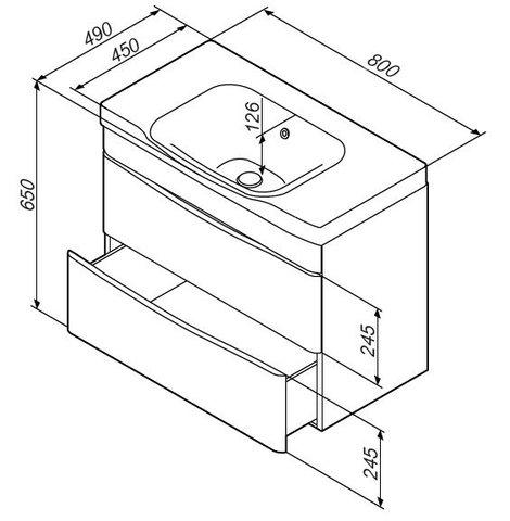 Комплект мебели AM-PM LIKE - 80 (тумба подвесная с раковиной, зеркальный шкафчик, пенал)