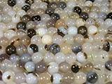 Нить бусин из агата мохового, шар гладкий 10мм