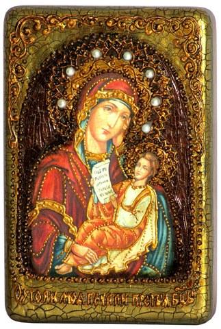 Инкрустированная Икона Божией Матери Утоли моя печали 15х10см на натуральном дереве, в подарочной коробке