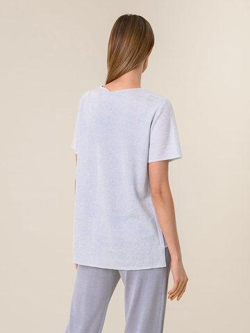 Женская футболка светло-серого цвета из вискозы - фото 2
