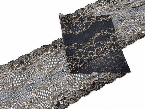 Эластичное кружево, 16,5 см, черное с бежевой кордовой нитью, (Арт: EK-2217), м