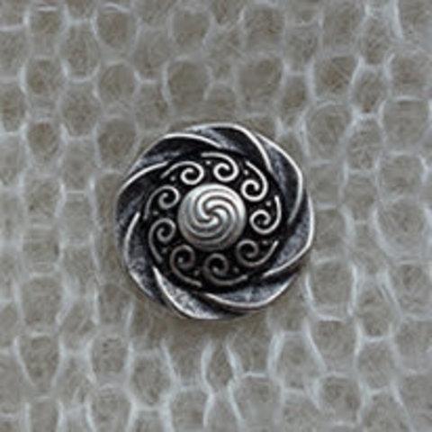 Пуговица металлическая на ножке, кельтские узоры, состаренное серебро, 15 мм