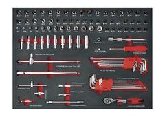 Тележка инструментальная семь выдвижных ящиков, набор инструмента 231 пр-тов, цвет красный.