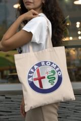 Женская сумка-шоппер с принтом Альфа Ромео (Alfa Romeo) бежевая 001