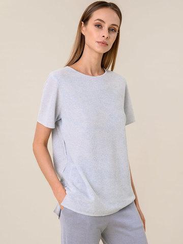 Женская футболка светло-серого цвета из вискозы - фото 1