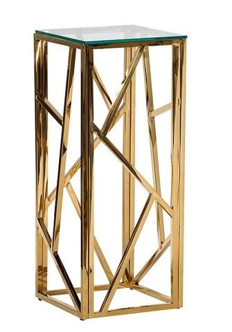 Стол журнальный 47ED-FS015GOLD высокий прозр.стекло/зол.30*30*75